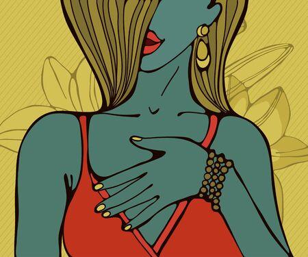 sensual: Hand drawn portrait of a beautiful sensual woman Illustration