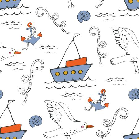 cruising: Colorful seamless sea pattern with seagulls anchors and boats