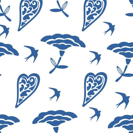 tragos: Patrón sin fisuras con flores de los corazones y las golondrinas Vectores