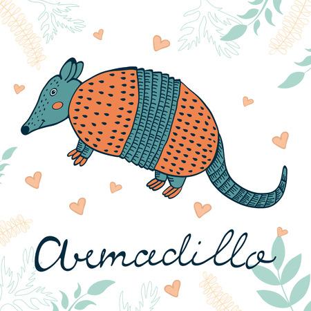 Armadillo illustration. Hand drawn card with cute armadillo Stock Photo