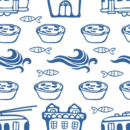 cute house: Seamless pattern with cute trams houses waves sardines and pastries. Vector illustration Illustration