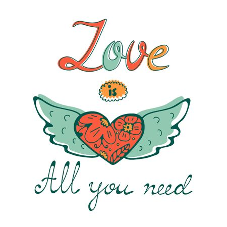 All you need is love concept card with flofal background and hand written typography