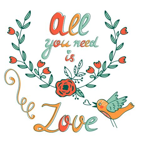 All you need is Love concept card with flofal background and hand written typography Ilustracja