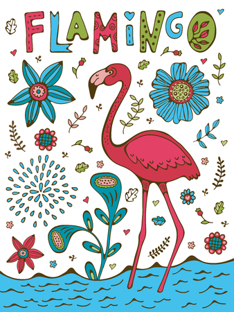 Colorful hand drawn poster with flamingo and hand lettering Ilustracja