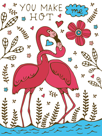 You make me hot. Flamingo couple kissing romantic poster