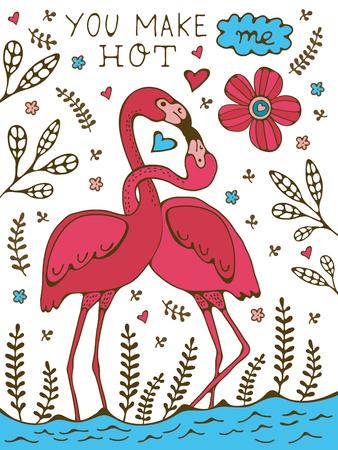 hot couple: You make me hot. Flamingo couple kissing romantic poster