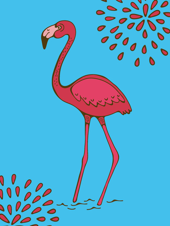 Colorful hand drawn poster with flamingo on blue background