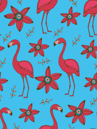 Flamingo and flowers colorful seamless pattern Ilustracja