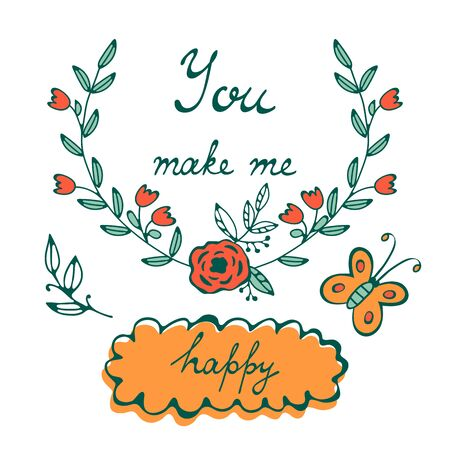 You make me happy. Romantic concept card with hand lettering Ilustracja