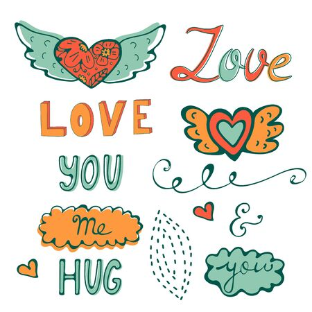 Elegant hand drawn collection of graphic elements. Ideal for embroidery post cards or invitations