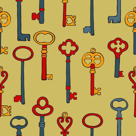 Retro keys colorful seamless pattern
