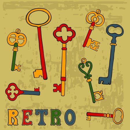 Collection of hand drawn retro keys