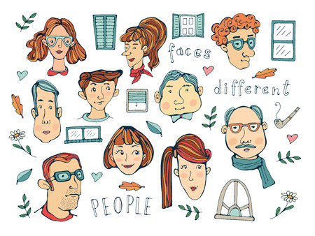 Hand drawn people faces collection