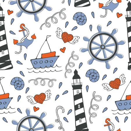 Colorful seamless sea pattern with boats and anchors