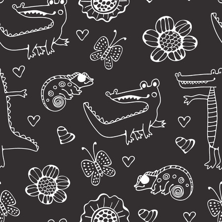 Black and white seamless pattern with crocodiles