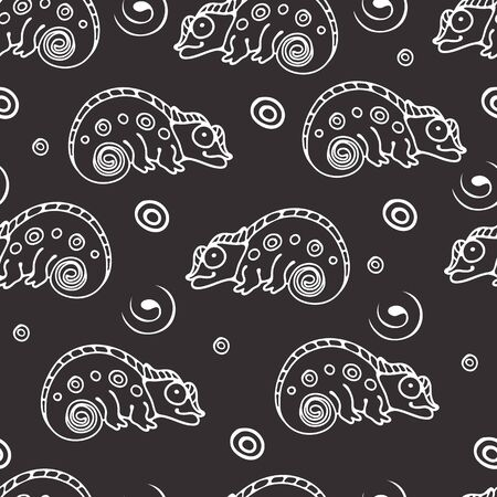 Black and white seamless pattern with chameleon.