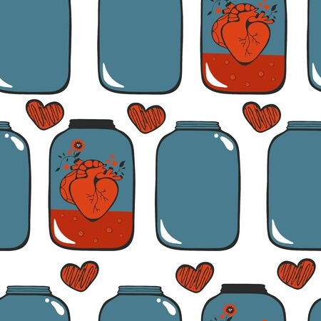 Pattern with hearts in jar