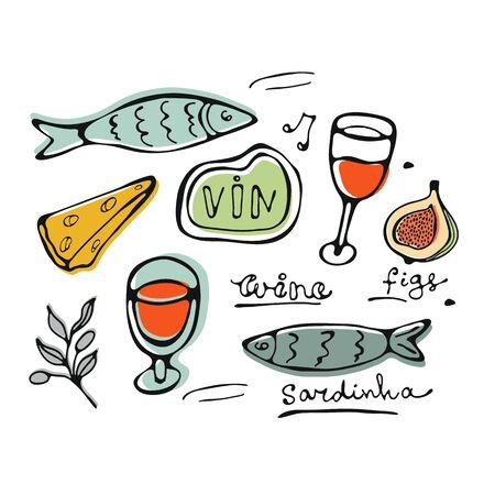Hand drawn food set Ilustracja