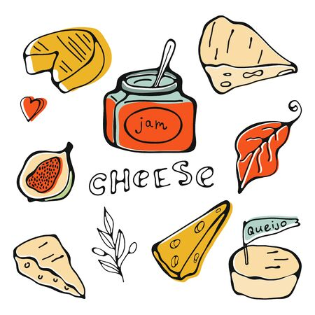 Hand drawn cheese collection Ilustracja