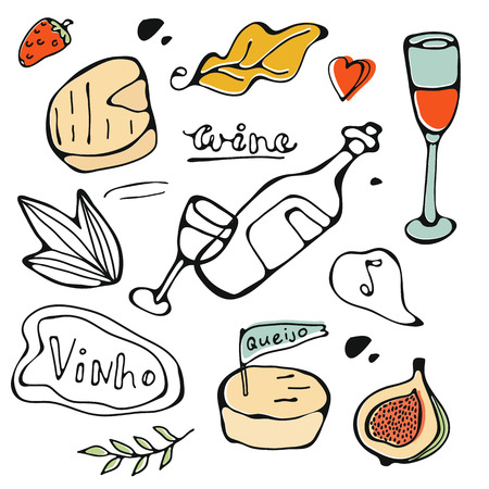 Hand drawn food set. Illustration of graphic elements in vector format. Vinho is wine in Portuguese language