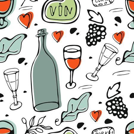 Wine collection pattern. Hand drawn seamless pattern made of wine related graphic elements Ilustracja