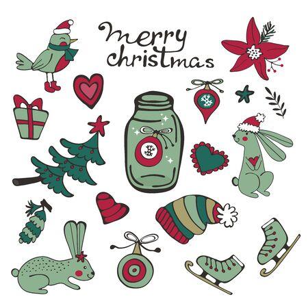 Cute Christmas collection Ilustracja