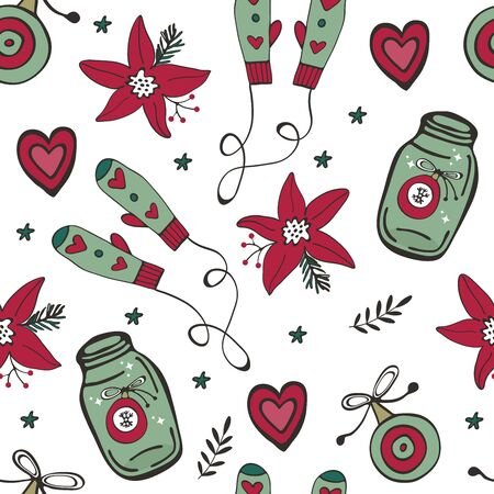 Christmas pattern with mittens, Christmas baubles, poinsettia flowers and hearts Ilustracja