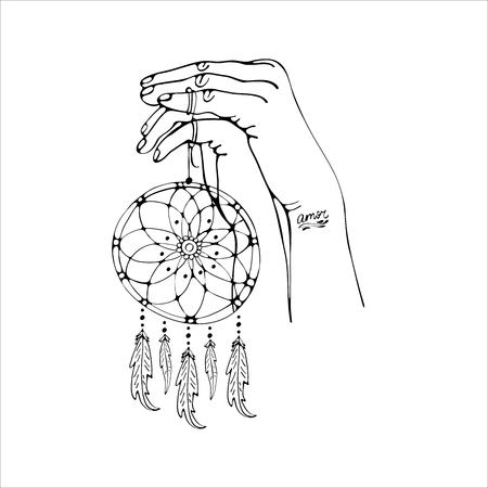 Two hands together male and female holding a dream catcher. Digital outline illustration. Black and white