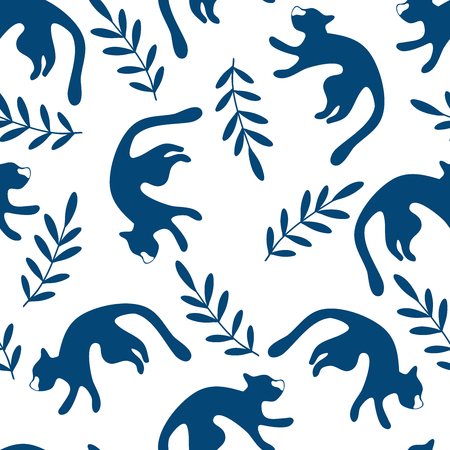 Seamless pattern with cats. Digital illustration with cats silhouettes. Blue on white background Ilustracja
