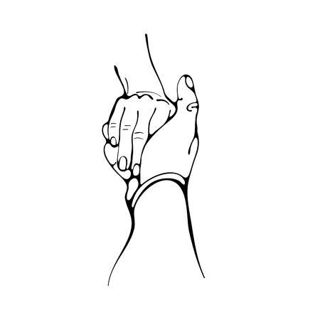 Sígueme. Mujer llevando a un hombre de la mano. Esquema de ilustración digital. Dos manos aisladas en blanco