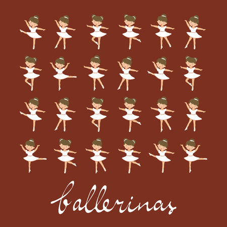 Cute little ballerina girls dancing. Collection of figures in different poses. Colorful collection