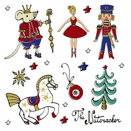Amazing Christmas collection. A set of Christmas elements and cfairytales characters Ilustracja