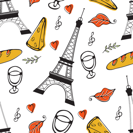 Paris seamless pattern. Eiffel tower, wine glass, baguette and other symbols in one stylish background. Ideal for textile or wrapping paper Ilustracja