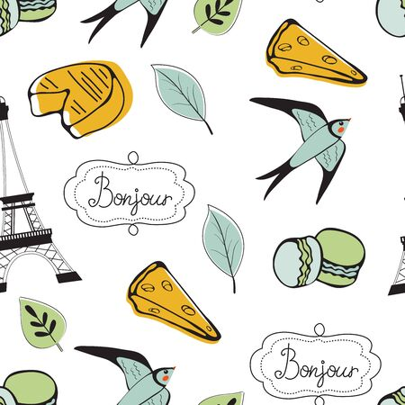 Paris seamless pattern. Eiffel tower, macaron, cheese and other symbols in one stylish background