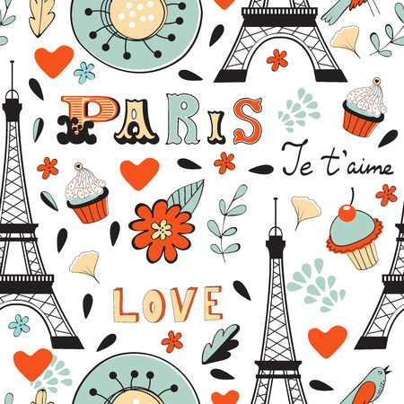 Paris seamless pattern. Eiffel tower, wine glass, baguette and other symbols in one stylish background.