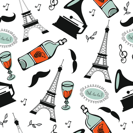 Paris seamless pattern. Eiffel tower, wine glass, baguette and other symbols in one stylish background. Ideal for textile or wrapping paper Illustration
