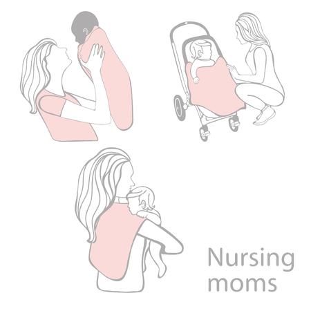 Nursing moms beautiful collection. Silhouettes of nursing moms. Digital art