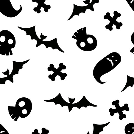 Halloween seamless pattern with various Halloween related symbols like bats, witches, skulls. Ideal for wrapping paper, textiles, covers.