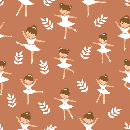Cute little ballerina girls dancing. Seamless pattern of figures in different poses.