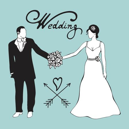 Hand drawn digital illustration of bride and gromm holding hands. Wedding illustration Иллюстрация
