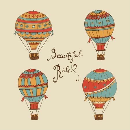 Schöne Fahrtsammlung von Heißluftballons. Handgezeichnete digitale Illustration mit bunten Heißluftballons und Handbeschriftung