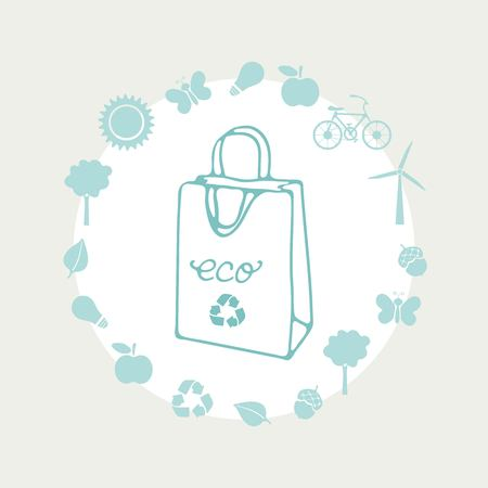 Eco life illustration. Ecological paper bag with ecological icons around. Conceptual illustration