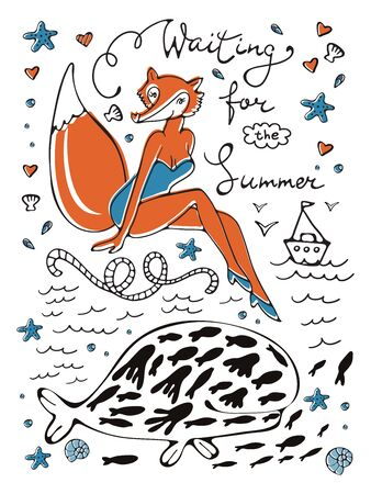 Waiting for the summer. Sexy fox character in swimming suit and hand lettering.Ideal for invitations and cards