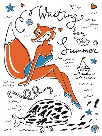 Waiting for the summer. Sexy fox character in swimming suit and hand lettering.Ideal for invitations and cards Foto de archivo - 130931798