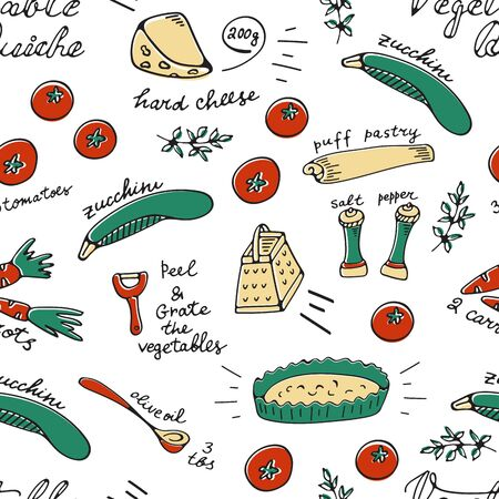Vegetable quiche recipe card pattern. Illustration of vegetable quiche recipe. Ideal for any kind of projects from web to cards and invites, fabrics and wrapping Ilustracja
