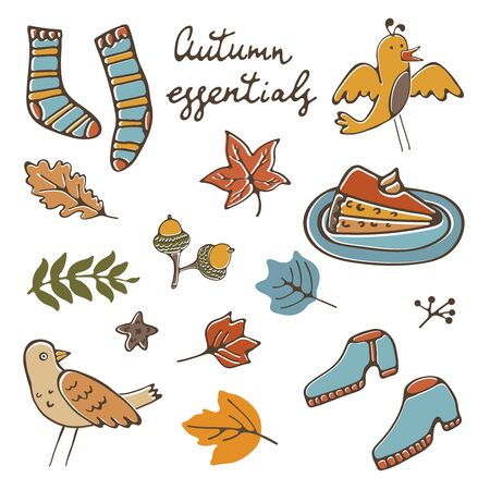 Autumn essentials stylsh colorful collection. Autumn related design elements set