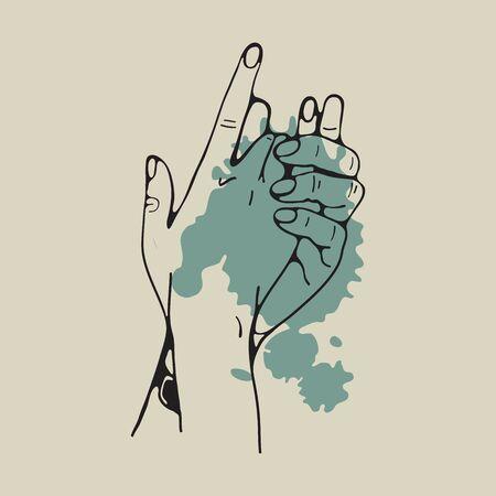 Manos de la pasión. Ilustración de dos manos abrazándose Ilustración de vector
