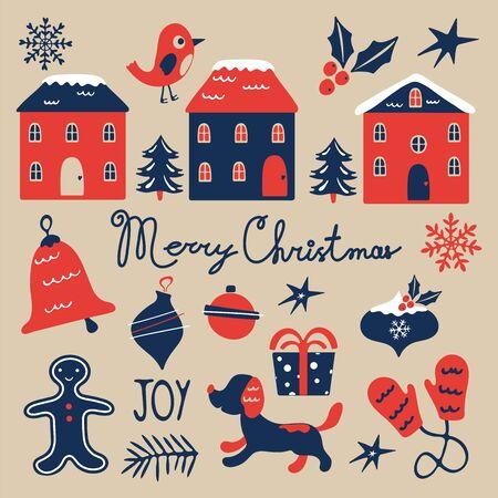 Weihnachtsgrafiksammlung. Süßes buntes Weihnachtsset