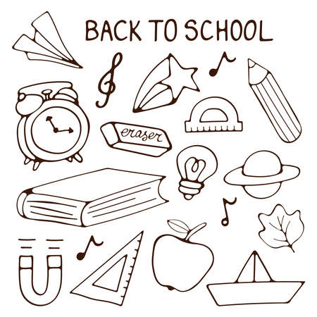 Colorful hand drawn Back to school illustration collection Illustration