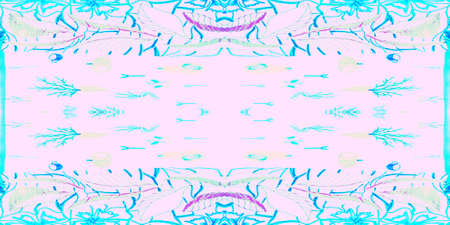Seamless Pattern Textile Kaleidoscope. Kilim Vivid Pink Design. Seamless Textile Kaleidoscope Pattern. Sea Pastel Aztec Artwork. Wave Blue Zigzag Design.